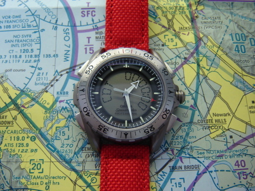 Omega X-33 on Red Kevlar strap. Photograph courtesy of HercDriver @ Ω TZ