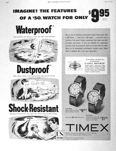 Vintage 1953 Timex Marlin Watch Ad