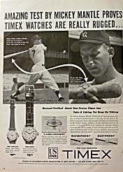 Vintage Timex Ad featuring Mickey Mantle
