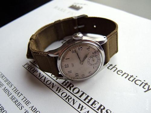 "Watch worn by Ron Livingston as Lt./Capt. Lewis Nixon in the ""Band of Brothers"" series, 2001"