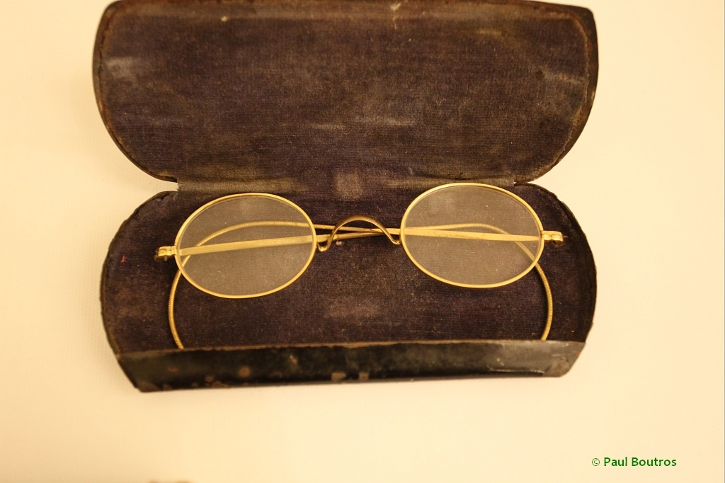 Eyeglasses sold in the upcoming Antiquorum auction attributed to Gandhi.  Note the elliptical shape.  Photo Paul Boutros/Timezone.com