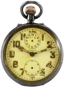 Zenith Alarm pocketwatch in sterling silver case attributed to Gandhi.