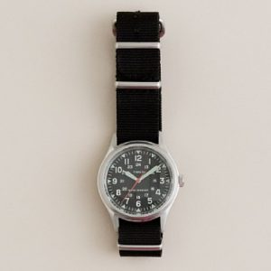 "The J. Crew Times ""Military"" watch includes a black nylon G10/""NATO"" style strap.  Photo: J. Crew"