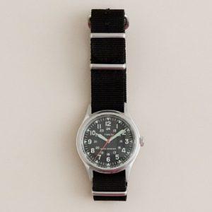 "The J. Crew Times ""Military"" watch includes a black nylon G10/""NATO"" style strap. Photo: J. Crew"