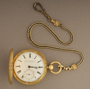 President Abraham Lincoln's Pocketwatch.  English movement in Us-made gold hunter case.  Photo: National Museum of American History