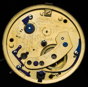 Watchmaker Jonathan Dillon's private inscription under the dial side of Abraham Lincoln's English Pocketwatch.