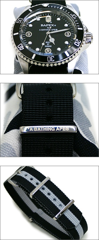 BAPEX/A Bathing Ape Submariner Clone.  Note the G10 replica strap.