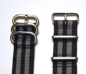 "Maratac ""Bond"" straps in the popular if perhaps incorrect color pattern"