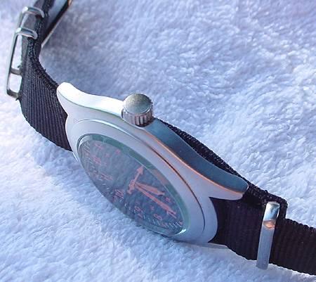 """Vietnam"" style quartz field watch, crown and black G10/""NATO"" nylon strap."