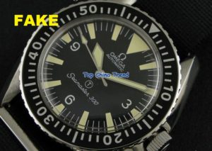 """Chinese Fake Seamaster 300. Note the """"SeaNaster"""" text on the dial. Close, but not quite."""