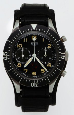 "Lot 100, Heuer ""Bund"" West German Air Force chronograph from the 1970s.  Looks to be (mostly) authentic."