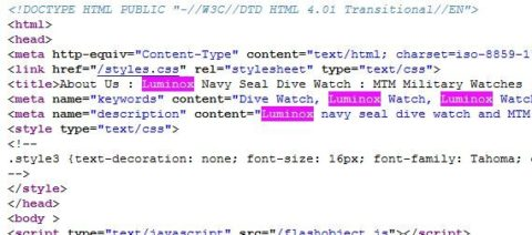 "Snippet of HTML code from Rogue Warrior Watches page showing frequent use of the word ""Luminox."""