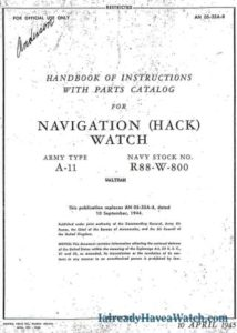 Waltham A-11 Navigation (Hack) Watch manual from 1945
