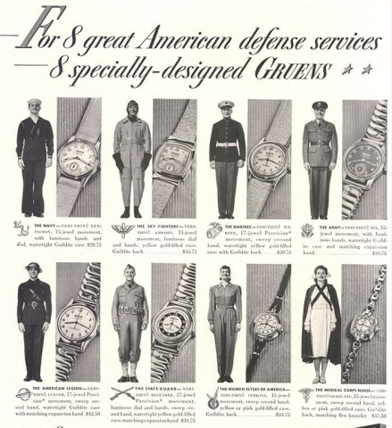 gruen watch co military ad 1940s