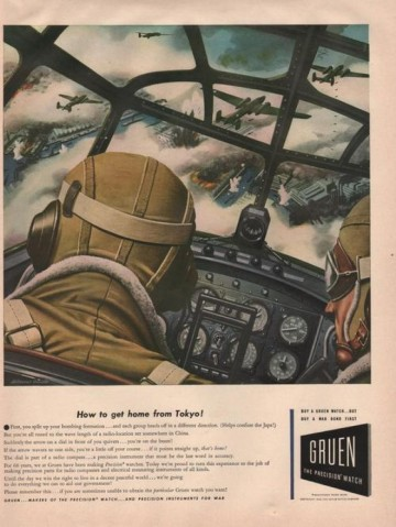 gruen watch ad how to get home tokyo 1942